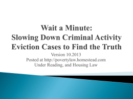 Defending Criminial Activity Cases - Poverty Law