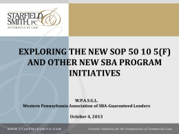 SOP5010(5)(F) - Western Pennsylvania Association Of SBA