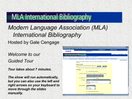 (MLA) International Bibliography