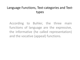 Language Functions, Text-categories and Text-types