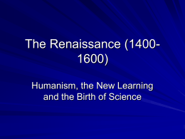 The Renaissance (1400-1600).ppt - The Critical Thinking Community