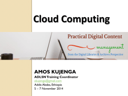 Cloud Computing - African Digital Library Support Network (ADLSN)