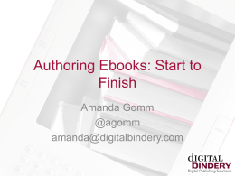Authoring Ebooks: Start to Finish