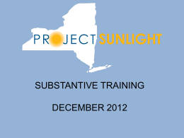 Project Sunlight Substantive Training PowerPoint