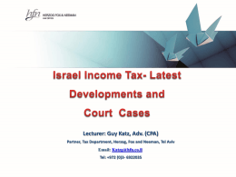 Guy Katz, Herzog Fox & Neeman, Israel Income Tax