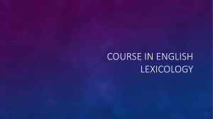 COURSE IN ENGLISH LEXICOLOGY