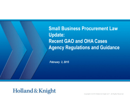 Recent Court, GAO and OHA Cases