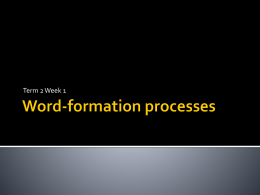 Words and word-formation processes
