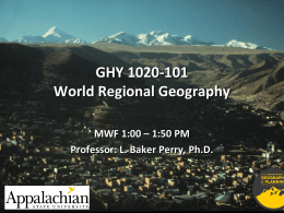 GHY 1020-107 World Regional Geography