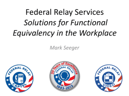 Federal Relay Training