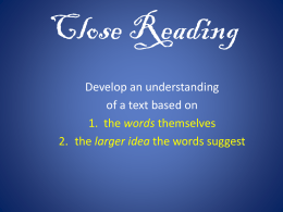 Close Reading - Fruitport Blogs
