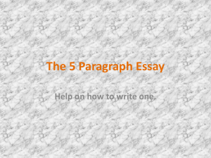 The 5 Paragraph Essay - Worth County Schools