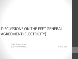 Discussions On The Efet General Agreement (Electricity)