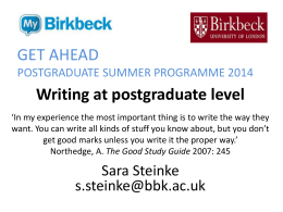 Writing at postgraduate level