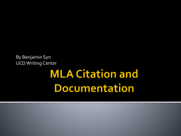 MLA Citation and Documentation