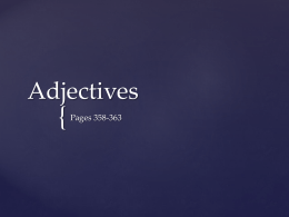 Adjectives - School City of Whiting