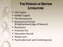 A History of British Literature