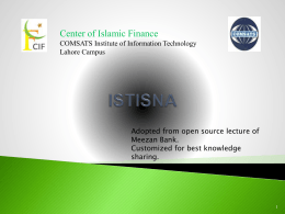 ISTISNA - Center of Islamic Finance