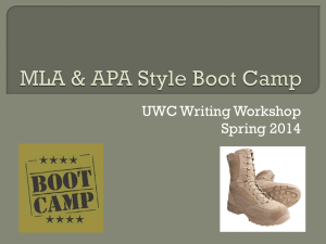 MLA & APA Style Boot Camp - The University of West Georgia