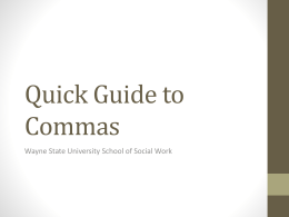 Commas - School of Social Work