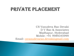issue of a private placement offer letter