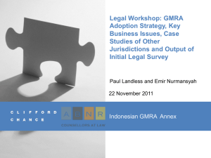 Legal Workshop: GMRA Adoption Strategy, Key