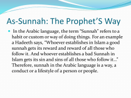 As-Sunnah: The Prophet*S Way