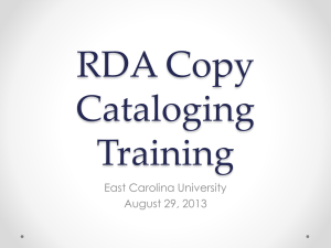 Local Powerpoint presentation on RDA copy cataloging