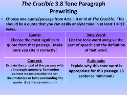 The Crucible 3.8 Tone Paragraph