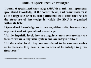 Units of specialized knowledge*