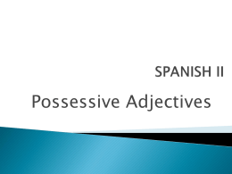 Posessive Adjectives