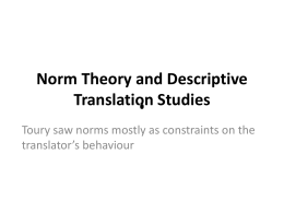 Norm Theory and Descriptive Translation Studies