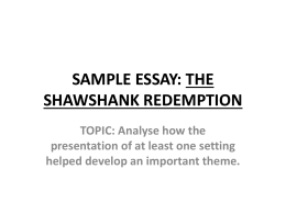 SAMPLE ESSAY: THE SHAWSHANK REDEMPTION - Missy-P
