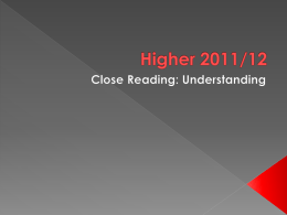 Higher 2011 close reading - understanding