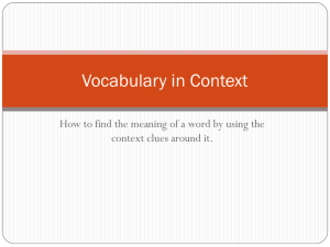 Vocabulary in Context Notes