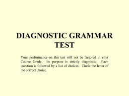 Diagnostic Grammar Exercise Answers