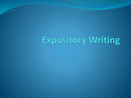 Expository Writing - Valley View High School