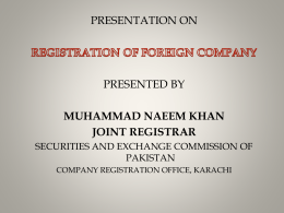 presentation on registration of foreign company presented by