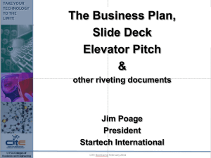 B-Plan, Slide Deck and Elevator Pitch