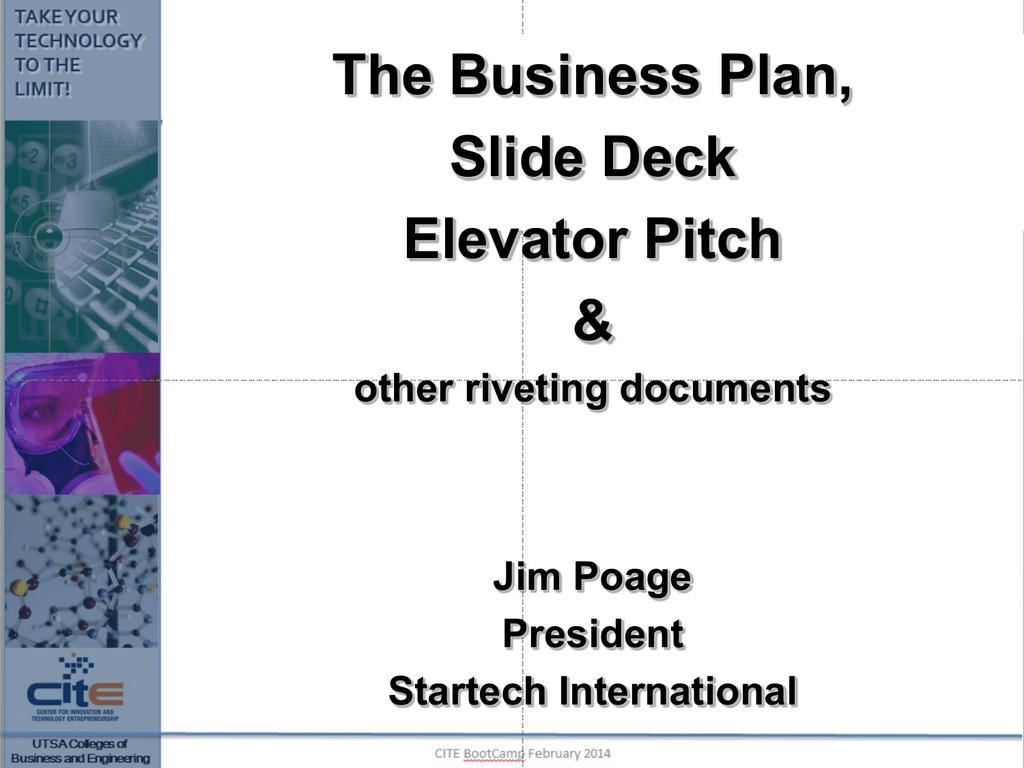 b plan slide deck and elevator pitch