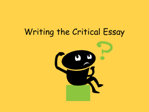 Writing the Critical Essay