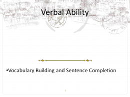 GRE Lecture Outline on Vocabulary Building and Sentence