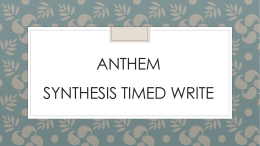 Anthem - Synthesis Timed Write