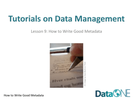 Tips for Writing Good Metadata