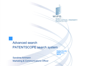 To the PATENTSCOPE search system webinar Advanced