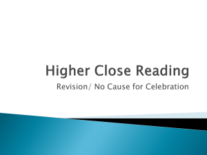 Higher Close Reading no cause for celebration