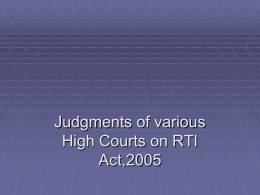 High Court`s Judgements on RTI