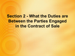 Duties of the Seller (continued)