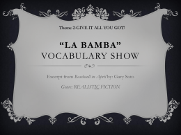 La Bamba Vocabulary PP