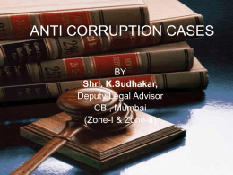 ANTI CORRUPTION CASES - Press Information Welcomes you